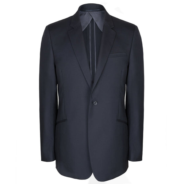 Luxury Navy Blue Silk Lined Tailored Jacket