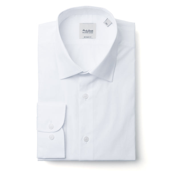 Hardy Amies Solid White Spread Collar Shirt