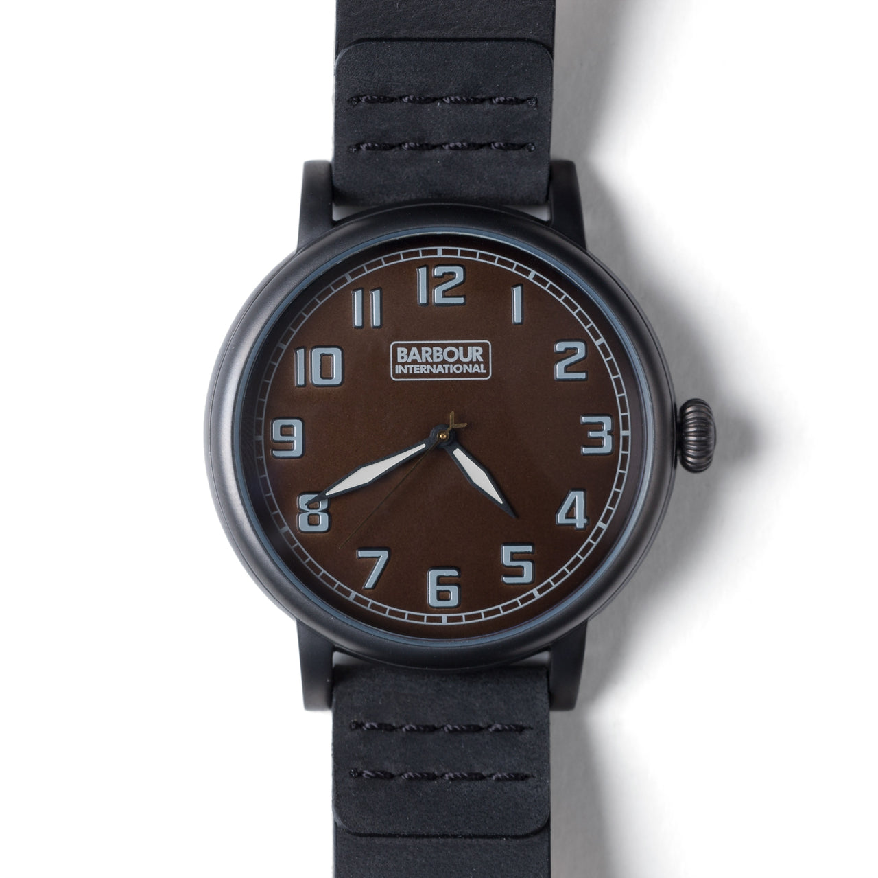 Barbour Hawkins PVD Coated Watch With Black Leather Strap