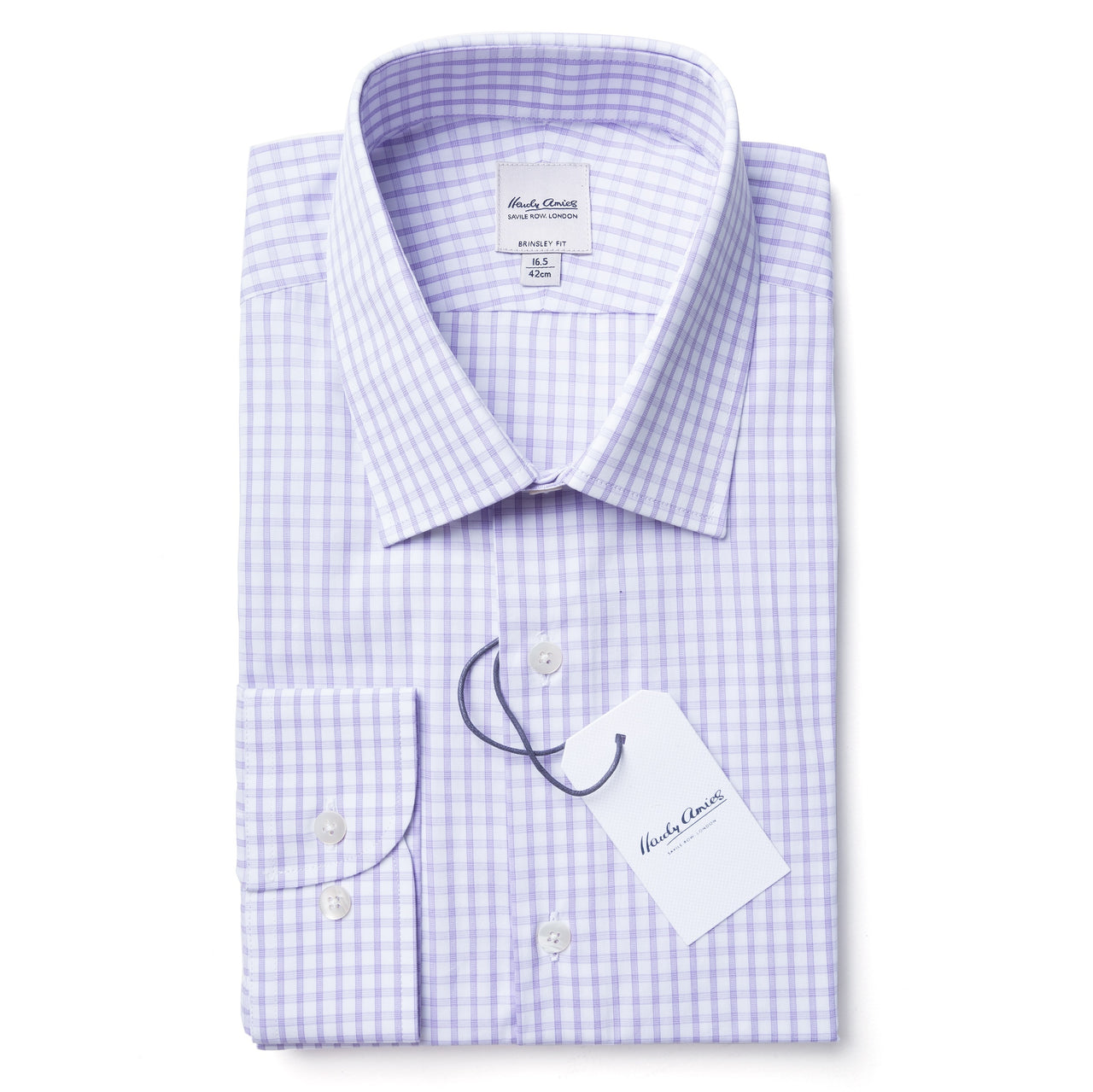 Hardy Amies Lilac Check Brinsley Fit Spread Collar Shirt