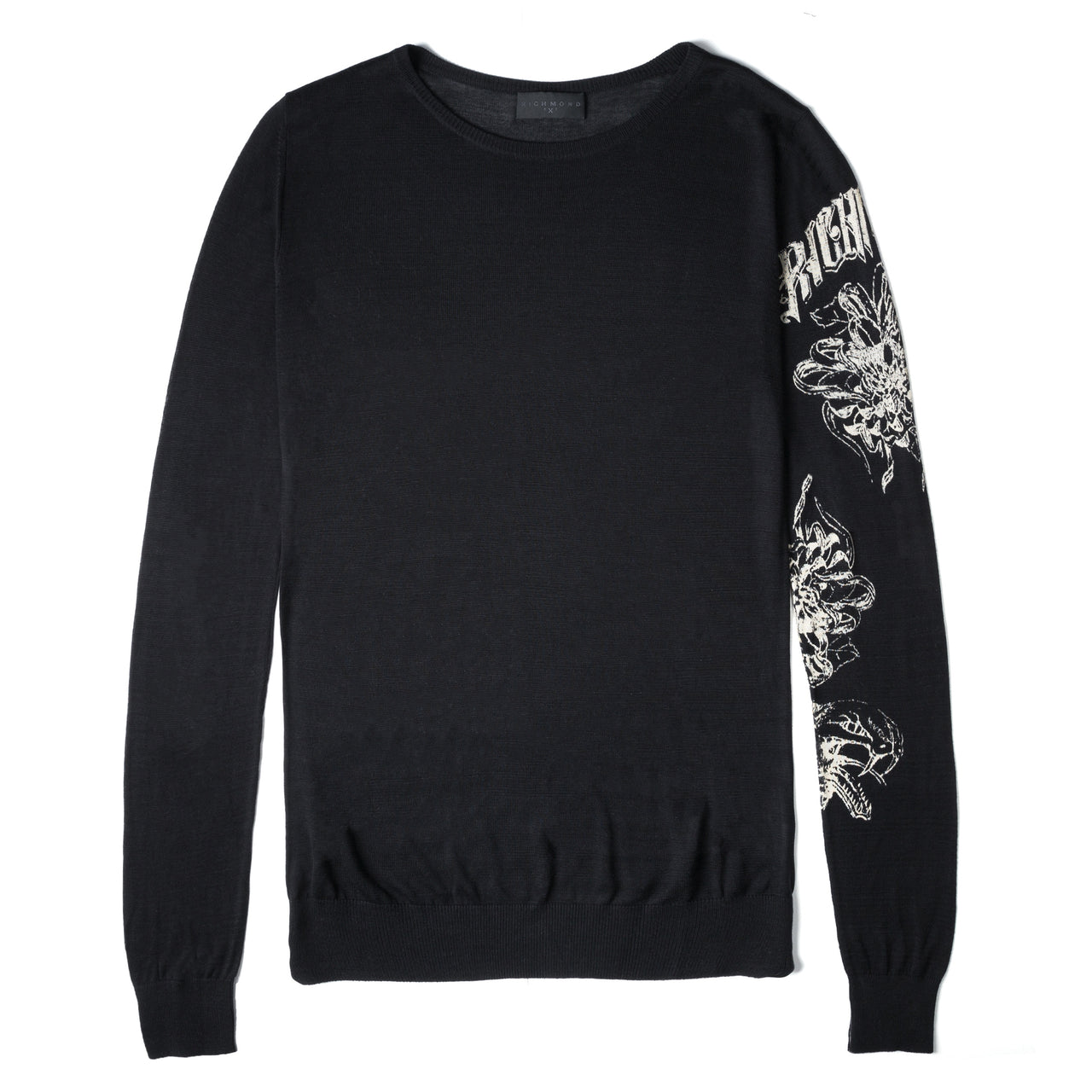 John Richmond Black Pure Silk Snake Print Sweater Made In Italy