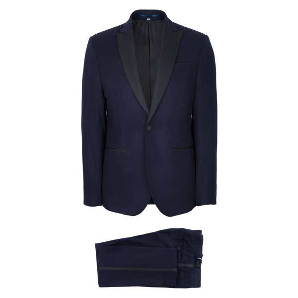 Navy Blue Wool & Cashmere Flannel Dinner Suit
