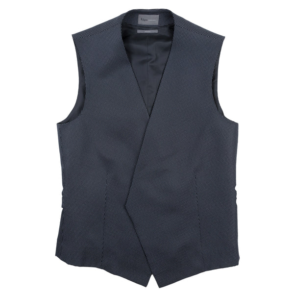 Navy Blue Pure Silk Polka Dot Double Breasted Waistcoat