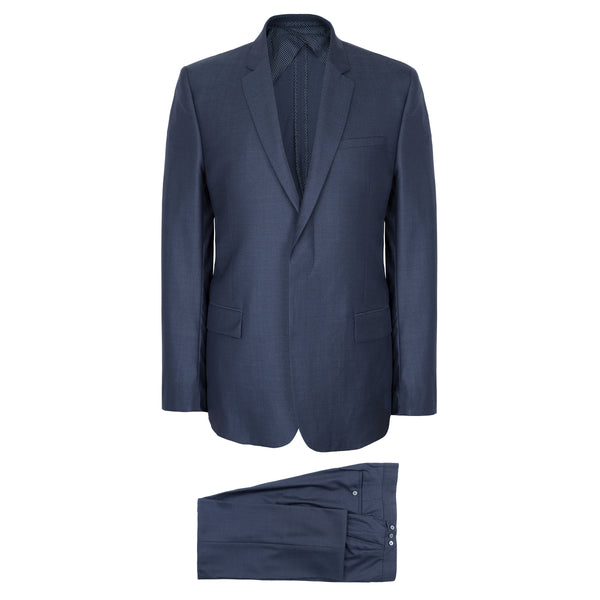 Mid Blue Handmade Wool & Silk Suit