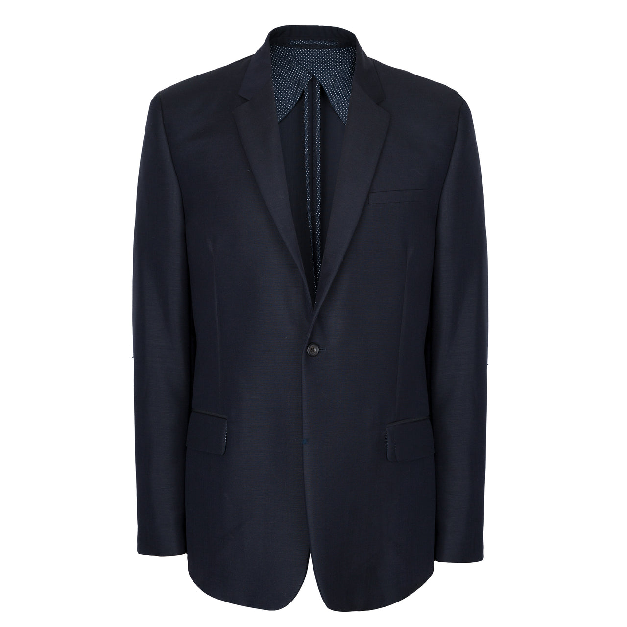 Navy Blue Wool & Mohair Tailored Jacket