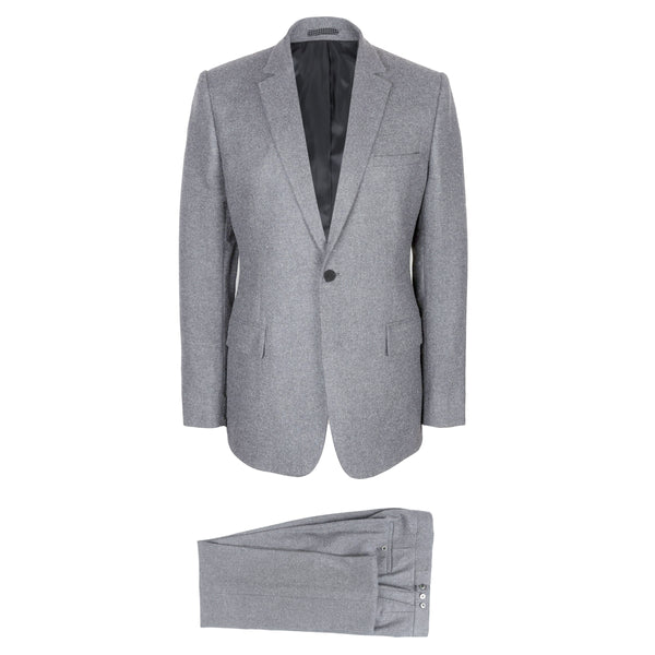 Luxury Light Grey Wool Flannel Suit