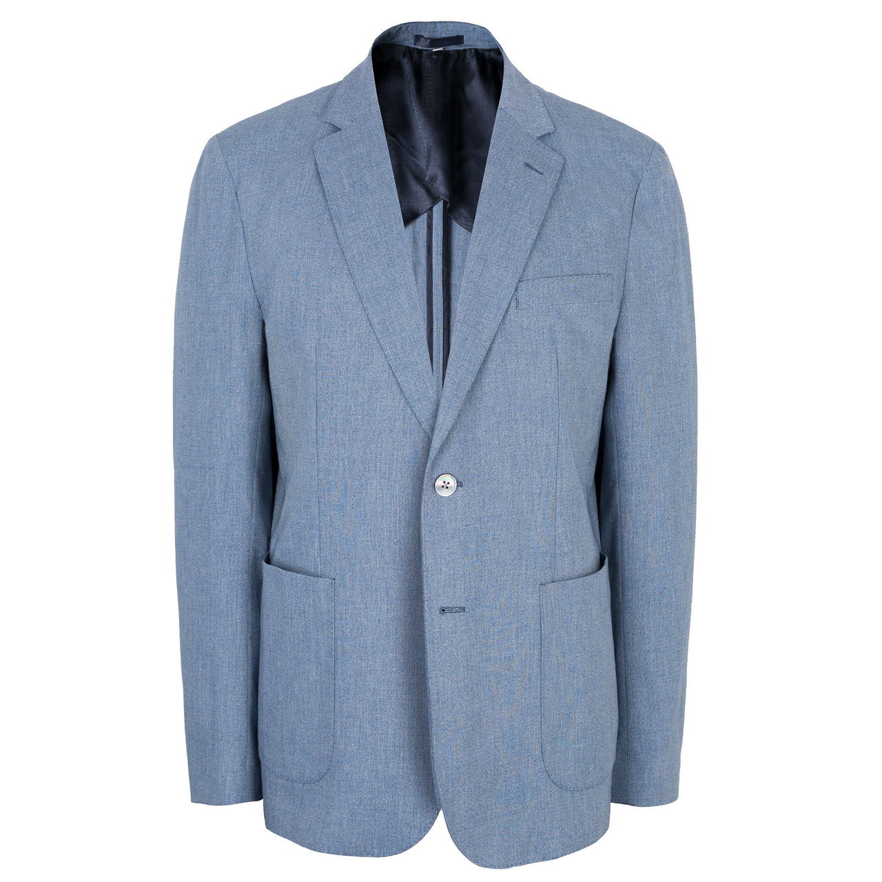 Hardy Amies Light Blue Cotton Mix Patch Pocket Slim Fit Jacket