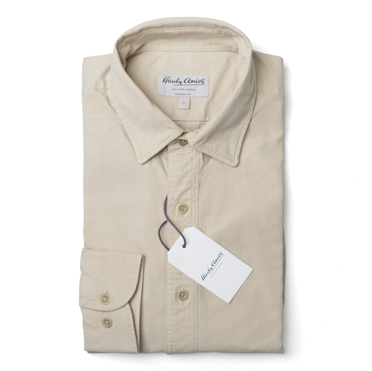 Hardy Amies Stone Cotton Heddon Fit Cargo Shirt