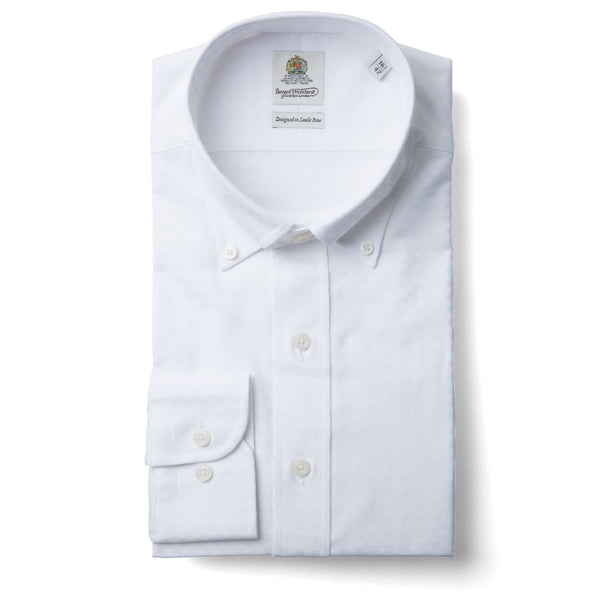 Bernard Weatherill White Textured Slim Fit Button Down Collar Shirt