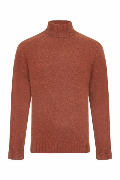 MEN'S DONEGAL ROLL NECK KNIT - BANKSIA