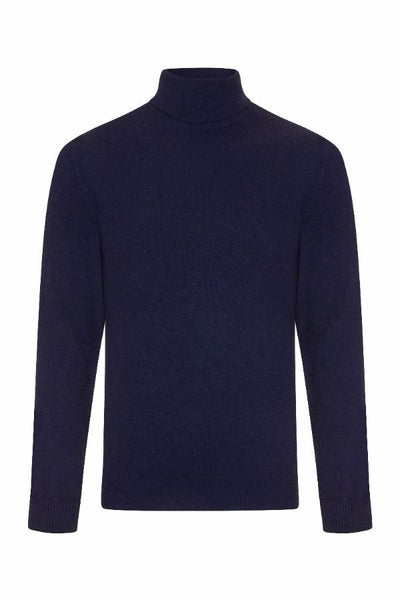 MEN'S ROLL NECK CASHMERE - BRIGHT NAVY
