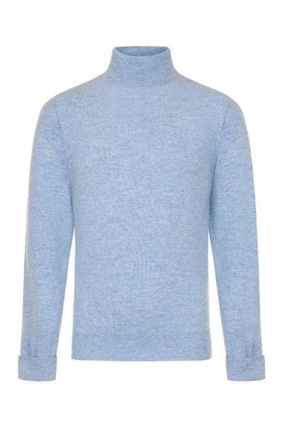 MEN'S ROLL NECK CASHMERE - HAREBELL