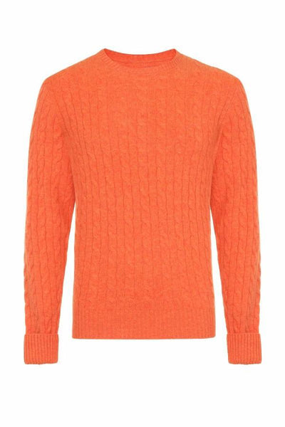 MEN'S CABLE CREW NECK CASHMERE - FLAMING