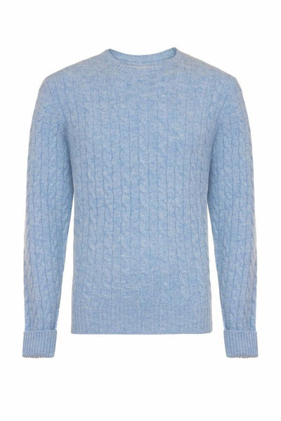 MEN'S CABLE CREW NECK CASHMERE - HAREBELL