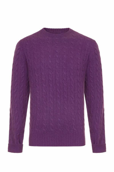 MEN'S CABLE CREW NECK CASHMERE - VELVET