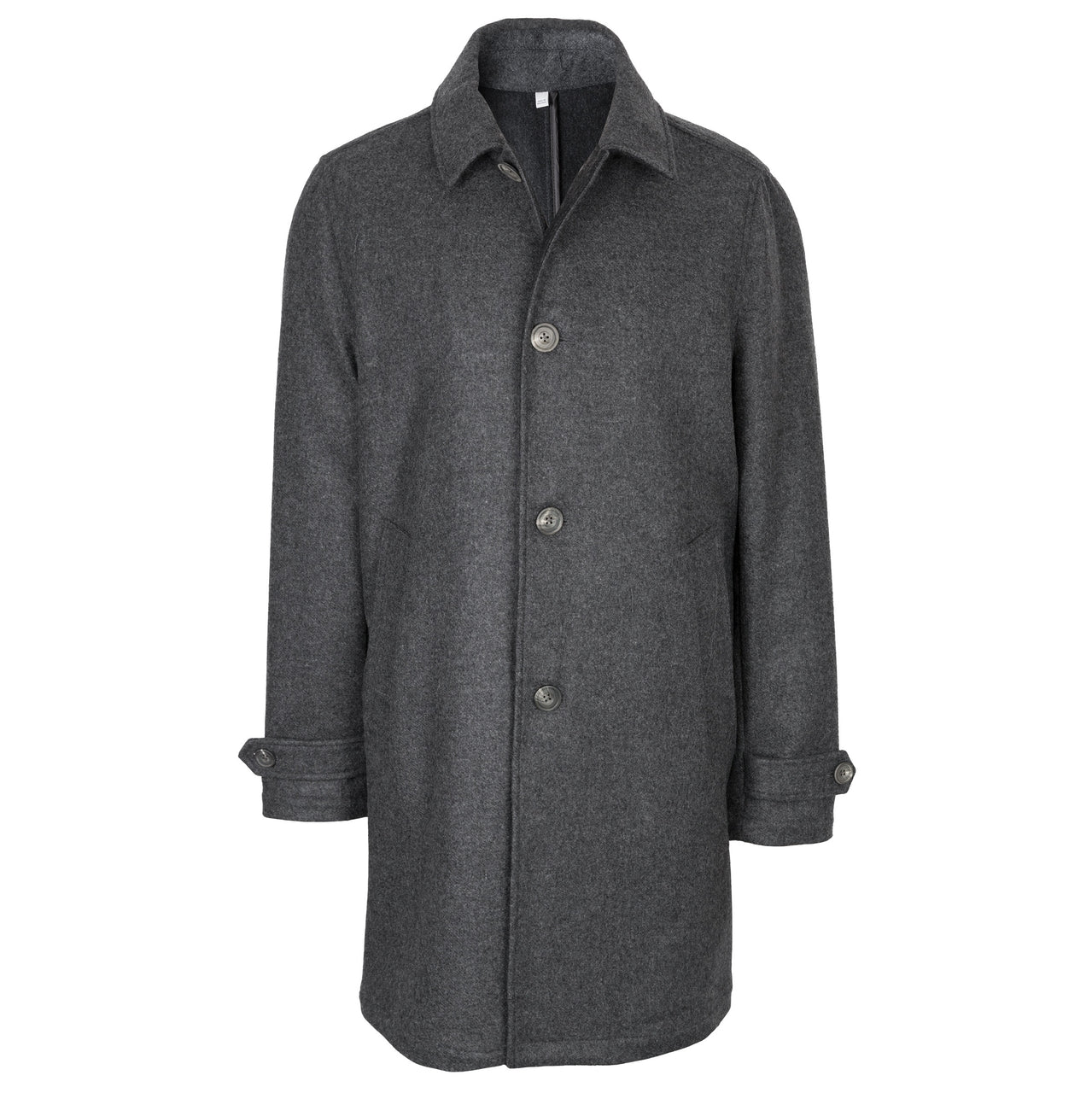 Hardy Amies Charcoal Grey Double Faced Wool & Cashmere Coat