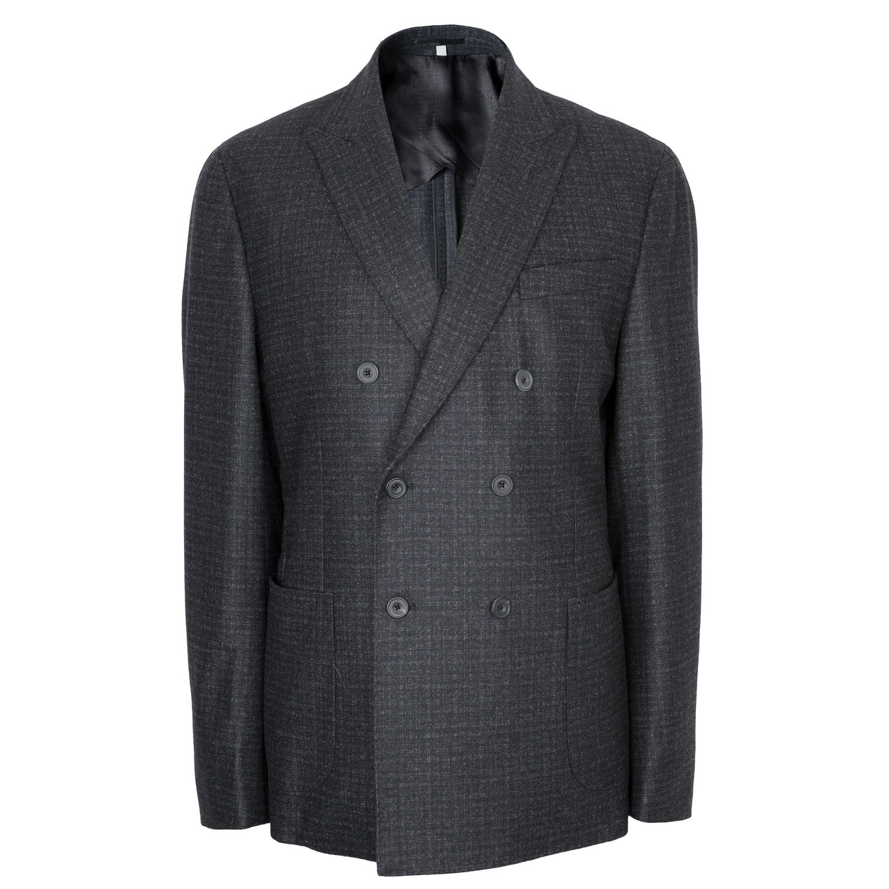 Hardy Amies Charcoal Grey Flannel Check Double Breasted Jacket