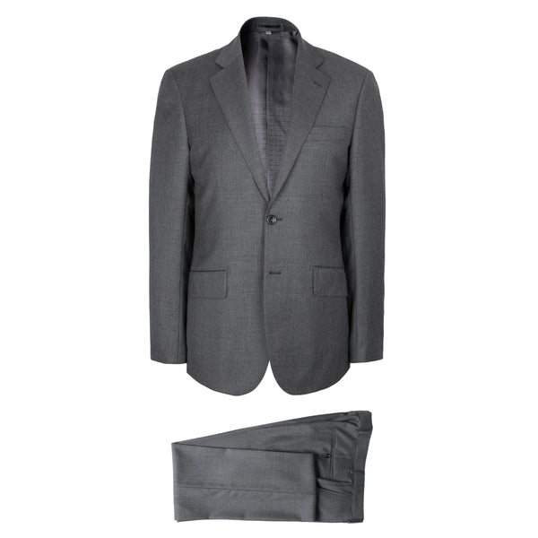Hardy Amies Savile Row Solid Charcoal Grey Wool Brinsley Fit Suit