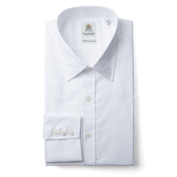 Bernard Weatherill Solid White Oxford Cloth Spread Collar Shirt