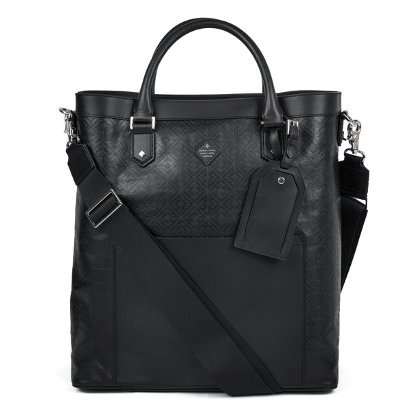 Hardy Amies Black Leather Embossed Tote Bag