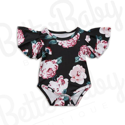 Black And Rose Baby Girl Romper