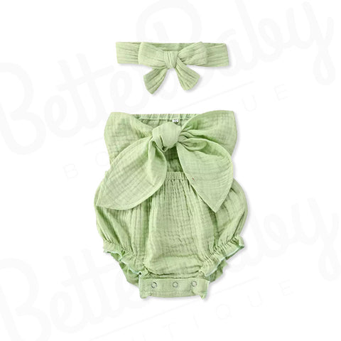 Bow Front Baby Girl Romper And Head Wrap