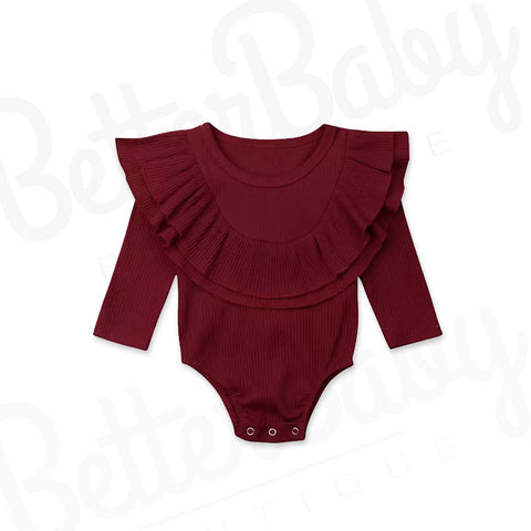 Catch Me Later Baby Romper Garnet