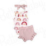 Chasing Rainbows Baby Girl Outfit And Headwrap