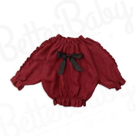 Double Ruffle Baby Shirt Red
