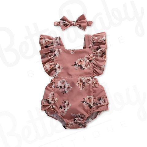Dusty Rose Baby Girl Romper