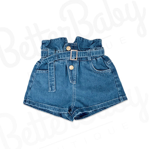 High Waisted Denim Baby Girl Shorts