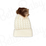 Single Pom Baby Hat White