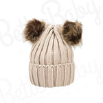 Knitted Baby Hat With Poms