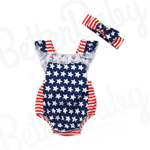 Miss America Baby Girl Romper Front