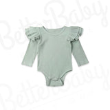 Ribbed Baby Girl Romper Green
