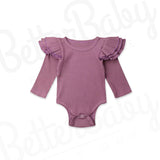 Ribbed Baby Girl Romper Purple