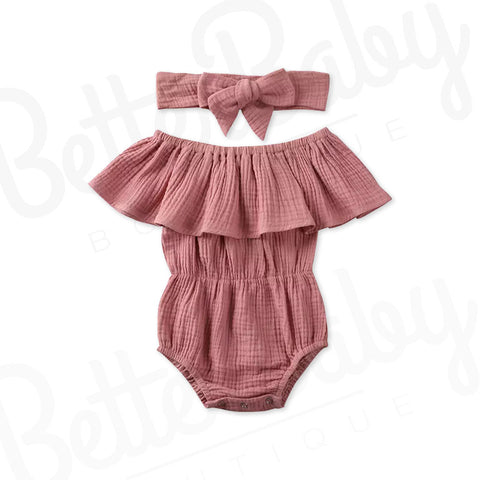 Ruffle Shoulder Baby Romper And Headwrap