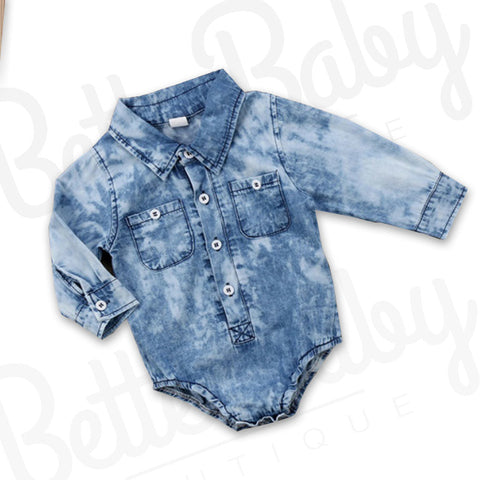 Blue Washed Baby Romper
