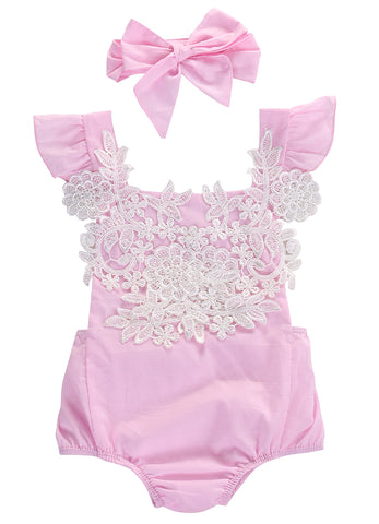 Pink And White Romper With Headband
