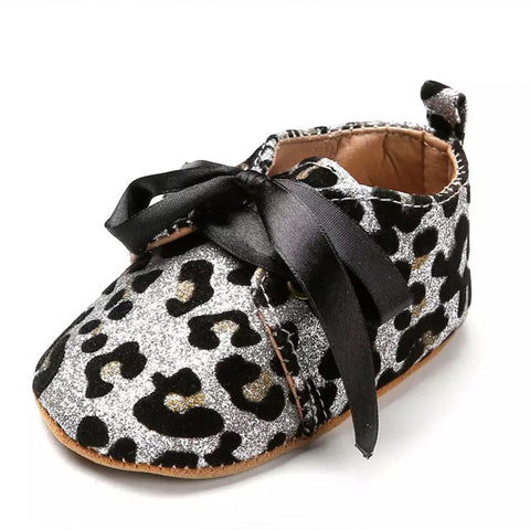 Silver Leopard Baby Shoes
