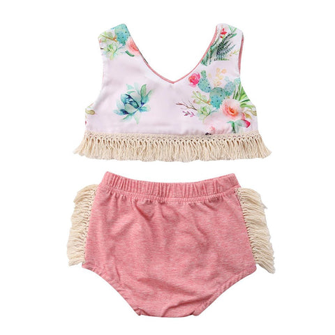 Pink And Fringe Baby Girl Outfit