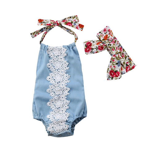 Grace Baby Girl Romper And Head Tie