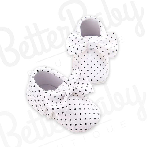 Polka Tassel And Bow Baby Shoe