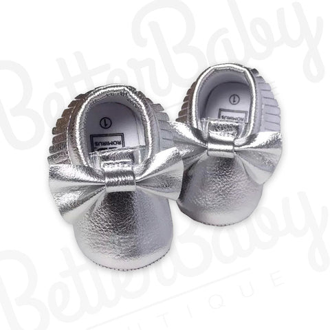 Silver Tassel And Bow Baby Shoe