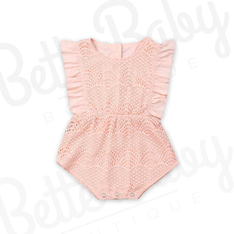 Pink Lace Baby Romper