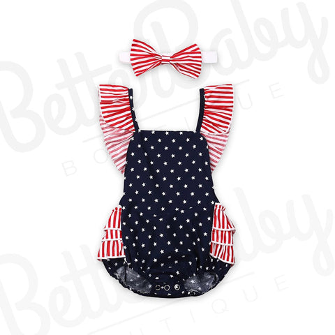 Stars And Stripes Baby Romper And Bow