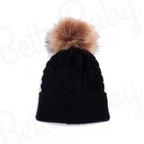 Single Pom Baby Hat Black