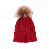 Single Pom Baby Hat Red