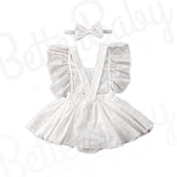 Skirted Eyelet Baby Romper And Bow Back