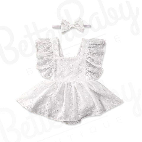 Skirted Eyelet Baby Romper And Bow